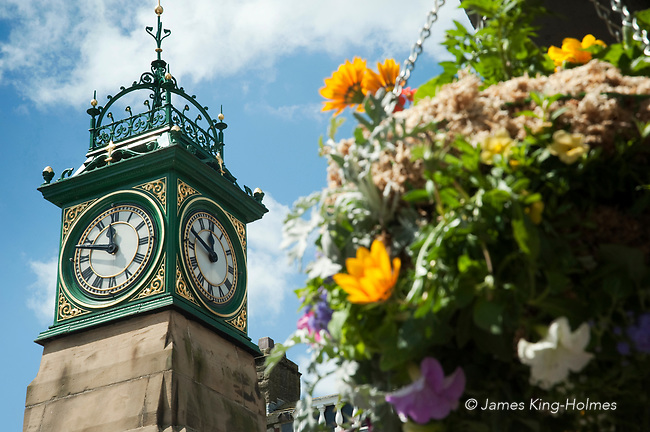 The Jubilee clock tower in Otley, Yorkshire, UK, erected by public subscription to commemorate two men, Sapper John Ventris and Trooper John Wilton Sedman, who fell in the Transvaal war in South Africa (1899-1902)