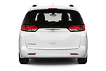 Straight rear view of 2020 Chrysler Voyager LX 5 Door Minivan Rear View  stock images