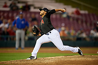 Kane County Cougars relief pitcher Abraham Almonte (11) delivers a pitch during a game against the South Bend Cubs on July 21, 2018 at Northwestern Medicine Field in Geneva, Illinois.  South Bend defeated Kane County 4-2.  (Mike Janes/Four Seam Images)