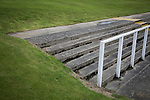 Elgin City 3 Edinburgh City 0, 13/08/2016. Borough Briggs, Scottish League Two. A section of terracing behind the goal at Borough Briggs, home to Elgin City, on the day they played SPFL2 newcomers Edinburgh City. Elgin City were a former Highland League club who were elected to the Scottish League in 2000, whereas Edinburgh City became the first club to gain promotion to the League by winning the Lowland League title and subsequent play-off matches in 2015-16. This match, Edinburgh City's first away Scottish League match since 1949, ended in a 3-0 defeat, watched by a crowd of 610. Photo by Colin McPherson.