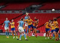 1st November 2020; Wembley Stadium, London, England; Womens FA Cup Final Football, Everton Womens versus Manchester City Womens; Sam Mewis of Manchester City  heads the ball from a Manchester City Women cross to score her sides 1st goal in the 29th minute to make it 1-0