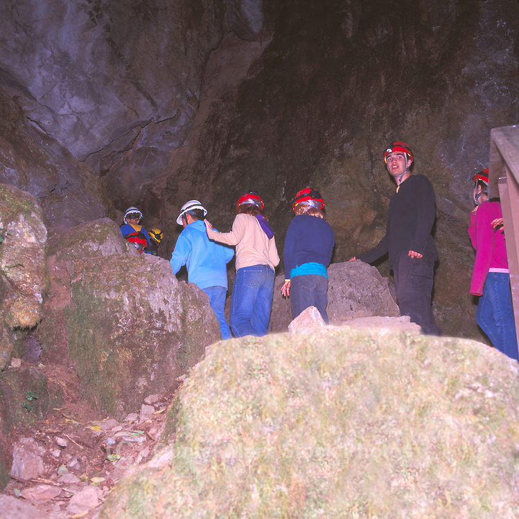 Cavers explore Lower Cave at Horne Lake Caves Provincial Park, Vancouver Island, BC, British Columbia, Canada