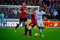 Sunday, 23 November 2012<br /> <br /> Pictured: Wayne Routlage of Swansea City an Pau Scholes of Manchester United<br /> Re: Barclays Premier League, Swansea City FC v Manchester United at the Liberty Stadium, south Wales.