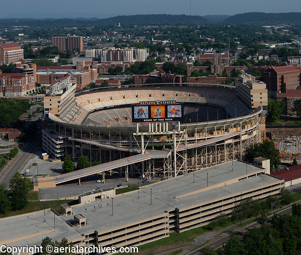 aerial photograph of Neyland Stadium, home of the Tennessee Volunteers football team , Knoxville, Knox County, Tennessee