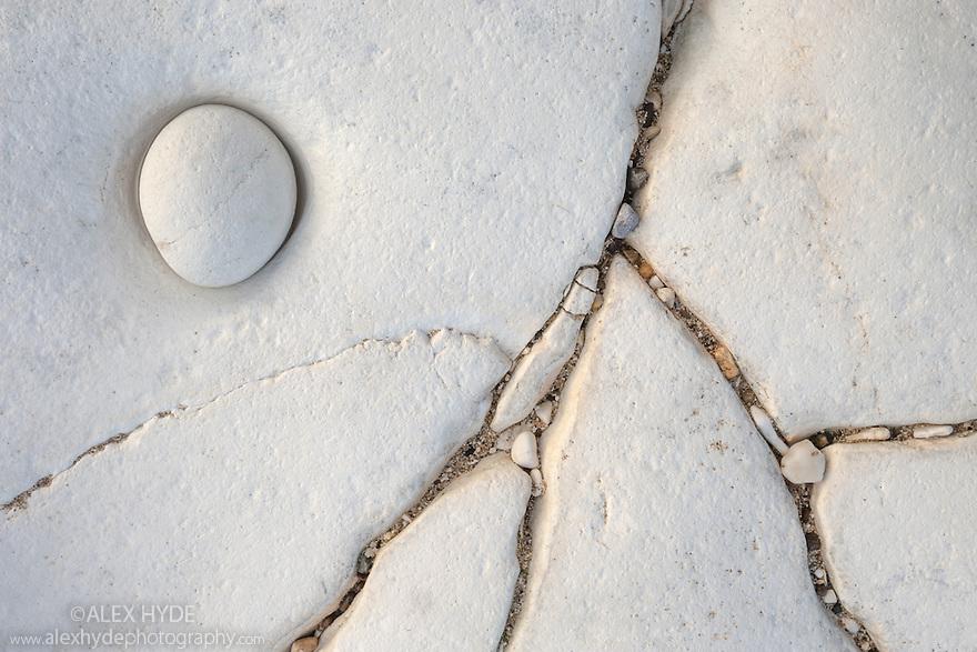 Chalk pebble on undercliff chalk shelf, Flamborough Head, Yorkshire, UK. February.