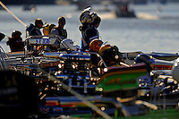 Jul. 18, 2009; Augusta, GA, USA; IHBA boat racers wait on the holding rope to race during qualifying for the Augusta Southern Nationals on the Savannah River. Mandatory Credit: Mark J. Rebilas-