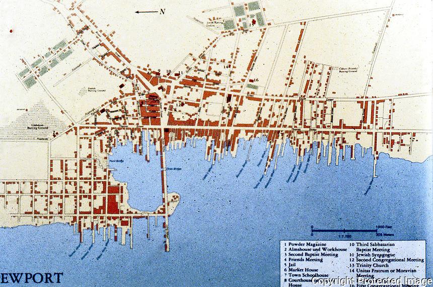 Utopia:  Newport RI, c. 1775.  Map.
