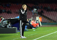 Thursday 27 February 2014<br /> Pictured: Swansea manager Garry Monk<br /> Re: UEFA Europa League, SSC Napoli v Swansea City FC at Stadio San Paolo, Naples, Italy.