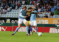 Thursday 08 August 2013<br /> Pictured L-R: Pawel Cibicki of Malmo challenging Jose Canas of Swansea <br /> Re: Malmo FF v Swansea City FC, UEFA Europa League 3rd Qualifying Round, Second Leg, at the Swedbank Stadium, Malmo, Sweden.