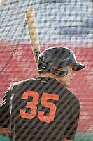Luke Anders #35 of the San Jose Giants takes batting practice before a game against the High Desert Mavericks at Stater Bros. Stadium on April 9, 2012 in Adelanto,California. High Desert defeated San Jose 6-5.(Larry Goren/Four Seam Images)