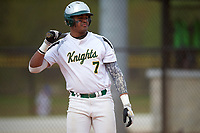 Community College of Rhode Island Knights Ernesto Figueroa (7) at bat during a game against the Genesee Community College Cougars on March 20, 2016 at Lake Myrtle Park in Auburndale, Florida.  CCRI defeated Genesee 23-4.  (Mike Janes/Four Seam Images)