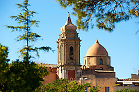 Towers of the church of San Martimo, Érice, Erice, Sicily stock photos.