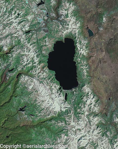satellite image of Lake Tahoe, California, Nevada