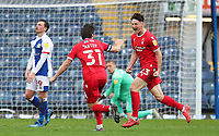 17th October 2020; Ewood Park, Blackburn, Lancashire, England; English Football League Championship Football, Blackburn Rovers versus Nottingham Forest ; Joe Lolley of Nottingham Forest celebrates with his team mate Harry Arter after scoring in injury time to give his team a 0-1 win