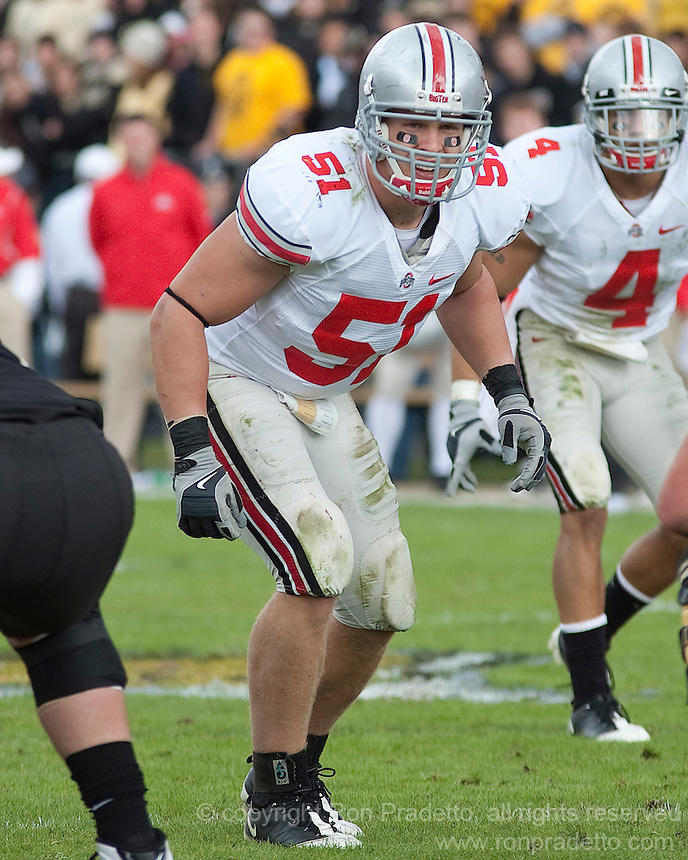 Ohio State linebacker Ross Homan. The Purdue Boilermakers defeated the Ohio State Buckeyes 26-18 at Ross-Ade Stadium, West Lafayette, Indiana on October 17, 2009..