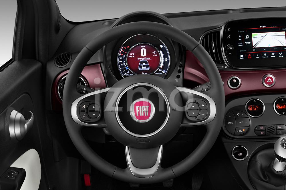 Car pictures of steering wheel view of a 2020 Fiat 500 S8-Star 3 Door Hatchback Steering Wheel