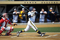 Julius Saporito (1) of the Quinnipiac Bobcats follows through on his swing against the Radford Highlanders at David F. Couch Ballpark on March 4, 2017 in Winston-Salem, North Carolina. The Highlanders defeated the Bobcats 4-0. (Brian Westerholt/Four Seam Images)