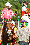"""JULY 04, 2020 : Vekoma with Javier Castellano aboard, wins the """"Win and You're In"""" Grade 1 Metropolitan Handicap, going 1 mile, at Belmont Park, Elmont, NY.  Sue Kawczynski/Eclipse Sportswire/CSM"""
