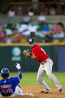 Oklahoma City RedHawks shortstop Angel Sanchez #36 turns a double play during the Pacific Coast League baseball game against the Round Rock Express on June 15, 2012 at the Dell Diamond in Round Rock, Texas. The Express shutout the RedHawks 2-1. (Andrew Woolley/Four Seam Images).