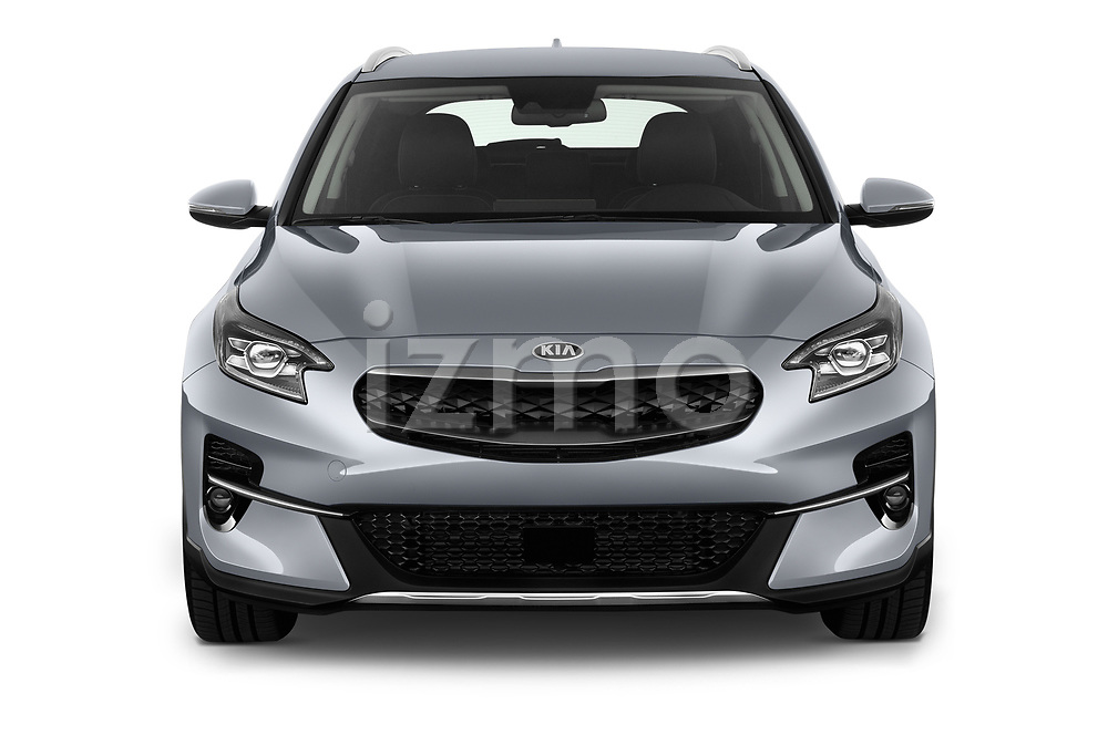Car photography straight front view of a 2020 KIA XCeed-PHEV Business-Line 5 Door SUV Front View