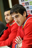 Mikel San Jose (r) and Pedro Rodriguez in press conference during Spanish national football team stage. March 22,2016. (ALTERPHOTOS/Acero)