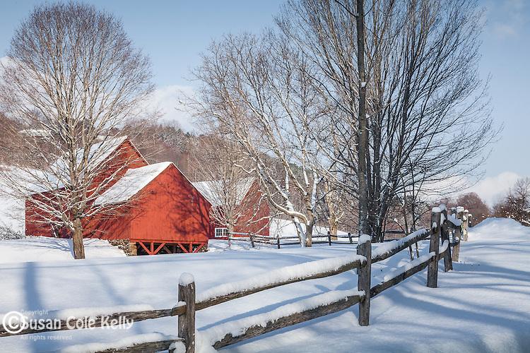 The red barns near Quechee village, Hartford, VT, USA
