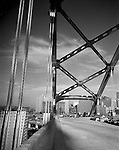 Pittsburgh PA:  A view of Hilton Hotel and Fort Pitt Bridge Construction from the Fort Pitt Bridge.