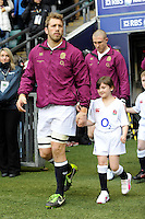 Chris Robshaw of England leads his team out before the RBS 6 Nations match between England and France at Twickenham on Saturday 23rd February 2013 (Photo by Rob Munro)