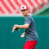 15 August 2017: Washington Nationals shortstop Trea Turner takes some tossing practice prior to a game against the Los Angeles Angels at Nationals Park in Washington, DC. The Nationals defeated the Angels 3-1 in the first game of their 2-game series. Mandatory Credit: Ed Wolfstein Photo *** RAW (NEF) Image File Available ***