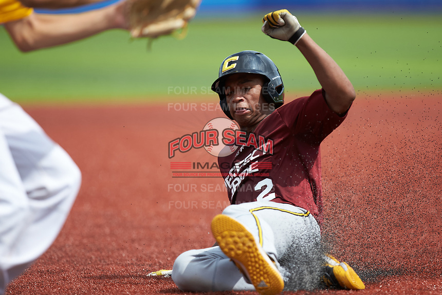 Jimmyll Williams (2) of Hillside High School in Durham, NC slides into third base during the Atlantic Coast Prospect Showcase hosted by Perfect Game at Truist Point on August 23, 2020 in High Point, NC. (Brian Westerholt/Four Seam Images)
