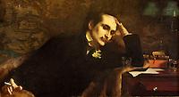 Europe/France/Aquitaine/64/Pyrénées-Atlantiques/Pays-Basque/Cambo-les-Bains: La Villa Arnaga, Musée Edmond Rostand: Le Grand Hall - Portrait d'Edmond de Rostand par Eugène Pascau - Huile sur Toile  1901