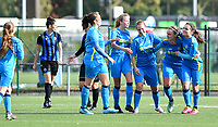 Union's players pictured celebrating after scoring a goal during a female soccer game between the women teams of Club Brugge YLA Dames and Union Saint-Ghislain Tertre-Hautrage Ladies on the 1/16 th qualifying round for the Belgian Womens Cup 2020  2021 , on saturday 26 th of September 2020  in Brugge , Belgium . PHOTO SPORTPIX.BE | SPP | DAVID CATRY