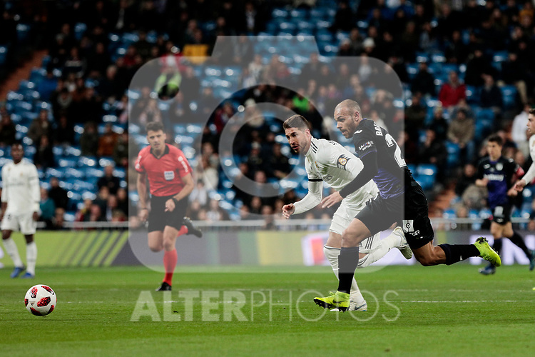 Real Madrid's Sergio Ramos and CD Leganes's Martin Braithwaite during Copa Del Rey match between Real Madrid and CD Leganes at Santiago Bernabeu Stadium in Madrid, Spain. January 09, 2019. (ALTERPHOTOS/A. Perez Meca)<br />  (ALTERPHOTOS/A. Perez Meca)