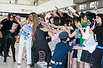 Members of the American five-piece girl group Fifth Harmony greet fans upon their arrival at Narita International Airport on July 7, 2016, Chiba, Japan. Fifth Harmony are in Japan for the first time to promote their new song Work from Home. Fifth Harmony flew 25 hours from Sau Paulo to Japan after finishing their tour of South America. (Photo by Rodrigo Reyes Marin/AFLO)