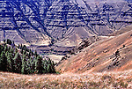 Monument Ridge Divides the Imnaha River from the Snake River just upstream from Hells Canyon.  This view of the Imnaha River from Hat Point Road.