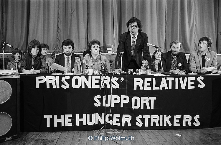 Lord Gifford, Sue O'Halloran (Sinn Fein), Owen Carron MP, Relatives of Irish hunger strikers press conference, Conway Hall, London.