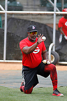 Greeneville Reds manager Gookie Dawkins (9) before a game against the Bristol Pirates at Pioneer Field on June 20, 2018 in Greeneville, Tennessee. Bristol defeated Greeneville 11-0. (Robert Gurganus/Four Seam Images)