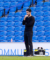 20th June 2020, American Express Stadium, Brighton, Sussex, England; Premier League football, Brighton versus Arsenal ;  Arsenals manager Mikel Arteta watches the match nervously towards the end