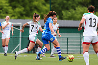 Jill Janssens (7) of OHL on the attack and Fran Meersman (5) of AA Gent defending during a female soccer game between Oud Heverlee Leuven and AA Gent Ladies on the 9 th matchday of play off 1 in the 2020 - 2021 season of Belgian Womens Super League , saturday 22 nd of May 2021  in Heverlee , Belgium . PHOTO SPORTPIX.BE   SPP   SEVIL OKTEM
