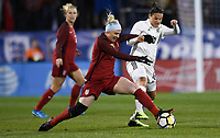 Columbus, Ohio - Thursday March 01, 2018: Julie Ertz, Dzsenifer Marozsán during a 2018 SheBelieves Cup match between the women's national teams of the United States (USA) and Germany (GER) at MAPFRE Stadium.