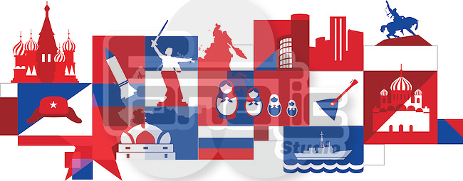 Illustrative collage of Russia over white background