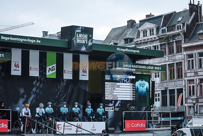 Astana-Premier Tech at the team presentations before the start of the 107th edition of Liege-Bastogne-Liege 2021, running 259.1km from Liege to Liege, Belgium. 25th April 2021.  <br /> Picture: A.S.O./Aurelien Vialatte | Cyclefile<br /> <br /> All photos usage must carry mandatory copyright credit (© Cyclefile | A.S.O./Aurelien Vialatte)