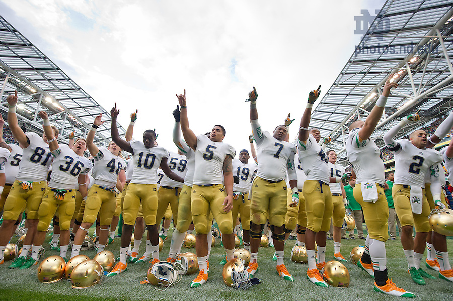 Sep. 1, 2012; The Notre Dame Football team celebrates after defeating Navy at Aviva Stadium...Photo by Matt Cashore/University of Notre Dame