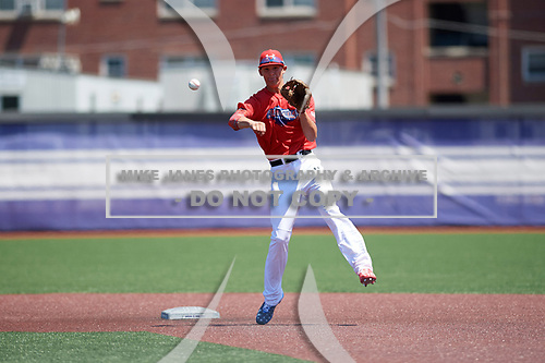 Bobby Witt, Jr. (15) of Colleyville Heritage High School in Colleyville, Texas during the Under Armour All-American Game practice presented by Baseball Factory on July 28, 2017 at Rocky Miller Park in Evanston, Illinois.  (Mike Janes/Four Seam Images)