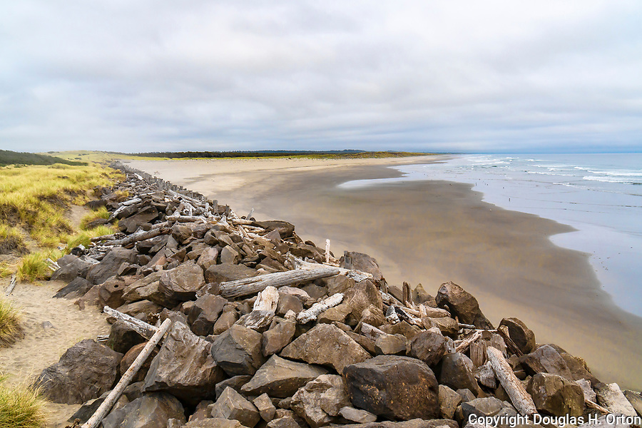 South jetty of the Columbia River and South Jetty Beach at Fort Stevens State Park, Oregon, near Astoria and Seaside.