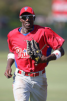 Philadelphia Phillies minor league outfielder Jiwan James vs. the Toronto Blue Jays in an Instructional League game at the Carpenter Complex in Clearwater, Florida;  October 9, 2010.  Photo By Mike Janes/Four Seam Images