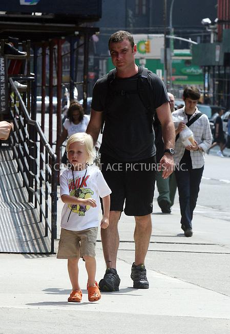 WWW.ACEPIXS.COM . . . . .  ....June 21 2011, New York City....Actor Liev Schreiber and his son Sasha walking in Soho on June 21 2011 in New York City....Please byline: PHILIP VAUGHAN - ACE PICTURES.... *** ***..Ace Pictures, Inc:  ..Philip Vaughan (212) 243-8787 or (646) 679 0430..e-mail: info@acepixs.com..web: http://www.acepixs.com