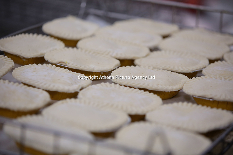 Pictured: A tray full of pastries ready for the oven. Friday 26 May 2017<br /> Re: Lewis Pie and Pasty Company which has gone into halal products in Swansea, Wales, UK