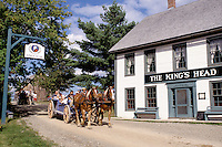 New Brunswick, NB, Canada, Wagon rides at King's Landing Historical Settlement next to King's Head Inn.