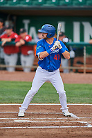 Matt Cogen (49) of the Ogden Raptors bats against the Great Falls Voyagers at Lindquist Field on August 21, 2018 in Ogden, Utah. Great Falls defeated Ogden 14-5. (Stephen Smith/Four Seam Images)